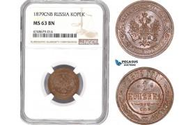 AE428, Russia, Alexander II, Kopek 1879 СПБ, St. Petersburg, NGC MS63BN