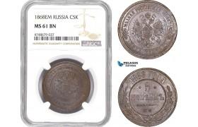 AE434, Russia, Alexander II, 5 Kopeks 1868 EM, Ekaterinburg, NGC MS61BN