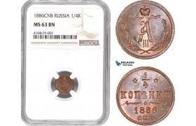 AE435, Russia, Alexander III, 1/4 Kopek 1886 СПБ, St. Petersburg, NGC MS63BN