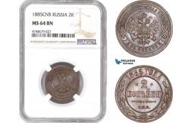 AE437, Russia, Alexander III, 2 Kopeks 1885 СПБ, St. Petersburg, NGC MS64BN