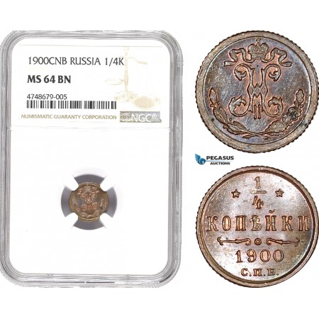 AE441, Russia, Nicholas II, 1/4 Kopek 1900, NGC MS64BN