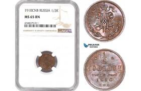 AE444, Russia, Nicholas II, 1/2 Kopek 1910, NGC MS65BN