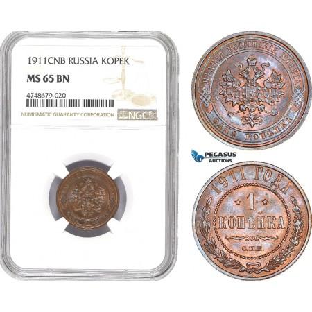 AE451, Russia, Nicholas II, 1 Kopek 1911, NGC MS65BN