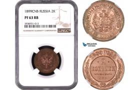AE454, Russia, Nicholas II, 2 Kopeks 1899, NGC PF63RB, Rare!
