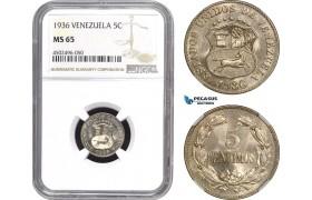 AE457, Venezuela, 5 Centimos 1936, NGC MS65