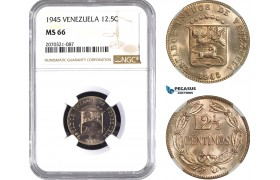 AE458, Venezuela, 12.5 Centimos 1945, NGC MS66, Pop 1/0