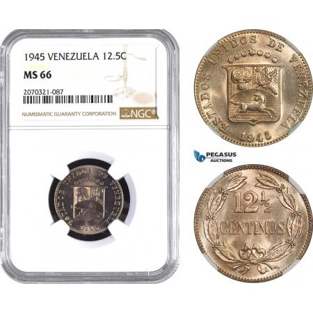 AE458, Venezuela, 12.5 Centimos 1945, NGC MS66, Pop 1/0