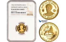 """AE461, Ethiopia, Haile Selassie, """"Emperor's Birth and Reign"""" 10 Dollars 1966, Gold, NGC PF66UC"""