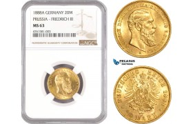 AE464, Germany, Prussia, Friedrich III, 20 Mark 1888-A, Berlin, Gold, NGC MS63