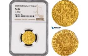 AE465, Hungary, Maximilian II, Ducat 1575 H-S, Kaschau, Gold (3.57g) NGC MS63, RRR!