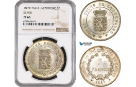 AE466, Luxembourg, Guillaume III, Essai 5 Francs 1889, Silver, NGC PF65, Pop 1/0, Very Rare!