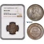 AE469, Australia, George V, 1/2 Penny 1927, NGC MS63BN