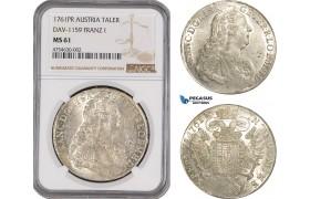 AE470, Austria, Franz I. Stephan, Taler 1761 PR, Prague, Silver, NGC MS61