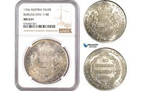 AE471, Austria, Burgau, Maria Theresia, Taler 1766, Silver, NGC MS63+