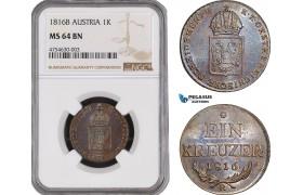 AE472, Austria, Franz II, 1 Kreuzer 1816-B, Kremnitz, NGC MS64BN