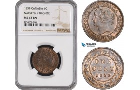 AE475, Canada, Victoria, 1 Cent 1859, Narrow 9, NGC MS62BN
