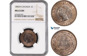 AE476, Canada, Victoria, 1 Cent 1882-H, Heaton, NGC MS63BN