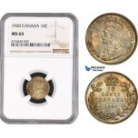AE479, Canada, George V, 10 Cents 1920, Silver, NGC MS64