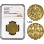 AE480, China, Fengtien, 10 Cash 1904, Brass, NGC AU Det. Cleaned