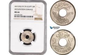 AE486, Egypt, Occupation Coinage, 2 Milliemes AH1335/1917-H, Heaton, NGC MS66, Top Pop!