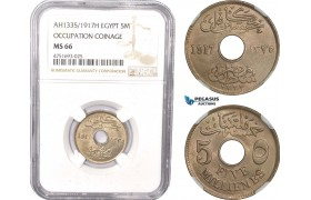 AE487, Egypt, Occupation Coinage, 5 Milliemes AH1335/1917-H, Heaton, NGC MS66, Top Pop!