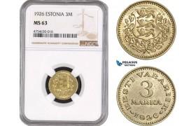 AE488, Estonia, 3 Marka 1926, NGC MS63, Rare!