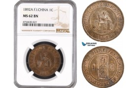 AE503, French Indo-China, 1 Centime 1892-A, Paris, NGC MS62BN
