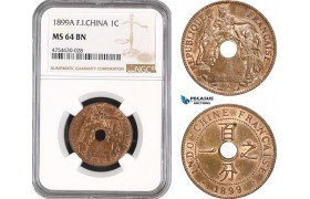AE504, French Indo-China, 1 Centime 1899-A, Paris, NGC MS64BN