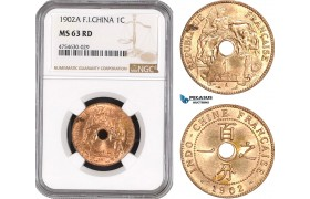 AE505, French Indo-China, 1 Centime 1902-A, Paris, NGC MS63RD