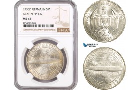 "AE506, Germany, Weimar, ""Graf Zeppelin"" 5 Reichsmark 1930-D, Munich, Silver, NGC MS65"