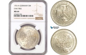 "AE507, Germany, Weimar, ""Oak Tree"" 5 Reichsmark 1931-A, Berlin, Silver, NGC MS64"