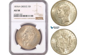 AE510, Greece, George I, 5 Drachmai 1876-A, Paris, Silver, NGC AU58