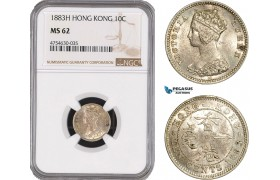 AE513, Hong Kong, Victoria, 10 Cents 1883-H, Heaton, NGC MS62, Pop 3/0, Rare!
