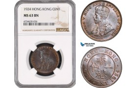 AE514, Hong Kong, George V, 1 Cent 1924, NGC MS63BN