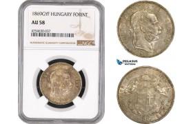 AE515, Hungary, Franz Joseph, 1 Forint 1869-GYF, Gyulafehervar, Silver, NGC AU58