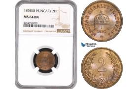 AE516, Hungary, Franz Joseph, 2 Filler 1895-KB, Kremnitz, NGC MS64BN, Pop 2/1