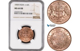 AE517, India, EIC, 1/4 Anna 1858, NGC MS64RB