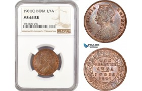 AE518, India (British) Victoria, 1/4 Anna 1901 (C) Calcutta, NGC MS64RB