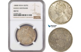 AE519, India (British) Victoria, Rupee 1888-B, Bombay, Silver, Raised mm. NGC AU53
