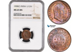 AE520, India (British) Edward VII, 1/12 Anna 1908 (C) Calcutta, NGC MS65BN
