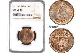 AE521, India (British) George V, 1/4 Anna 1911 (C) Calcutta, NGC MS63RB