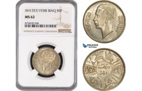 AE524, Iraq, Ghazi I, 50 Fils AH1357 / 1938-I, Bombay, Silver, NGC MS62