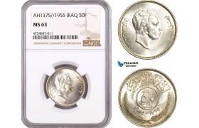 AE526, Iraq, Faisal II, 50 Fils AH1375/1955, Silver, NGC MS63