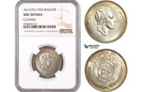 AE527, Iraq, Faisal II, 50 Fils AH1375/1955, Silver, NGC UNC Det.