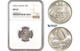 AE532, Latvia, 10 Santimi 1922, NGC MS62