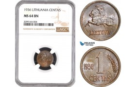 AE533, Lithuania, 1 Centas 1936, NGC MS64BN