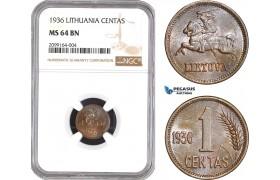 AE533, Lithuania, 1 Centas 1936, NGC MS64BN