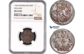 AE535, Netherlands, Holland, Duit 1766, NGC MS63BN, Pop 2/0