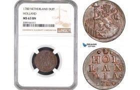 AE536, Netherlands, Holland, Duit 1780, NGC MS63BN
