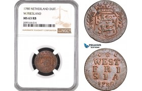 AE539, Netherlands, West Friesland, Duit 1780, NGC MS63RB, Pop 2/1